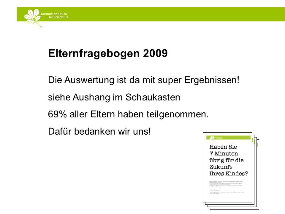 Elternfragebogen 2009 Die Auswertung ist da mit super Ergebnissen!