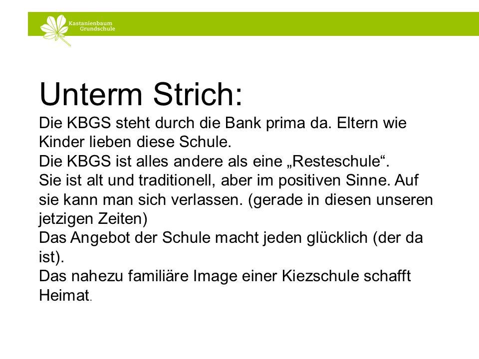 """Unterm Strich:Die KBGS steht durch die Bank prima da. Eltern wie Kinder lieben diese Schule. Die KBGS ist alles andere als eine """"Resteschule ."""