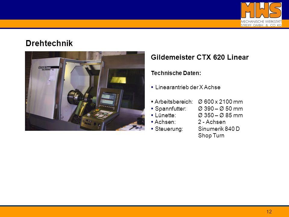 Drehtechnik Gildemeister CTX 620 Linear Technische Daten: