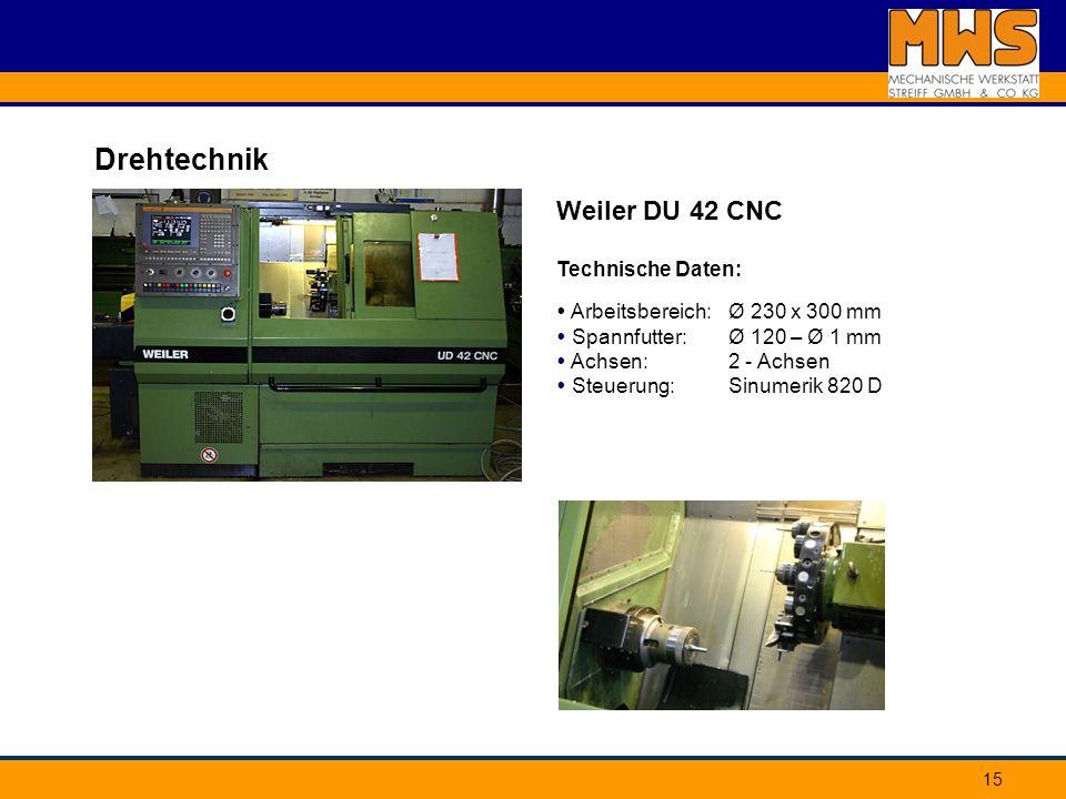 Drehtechnik Weiler DU 42 CNC Technische Daten: Arbeitsbereich: