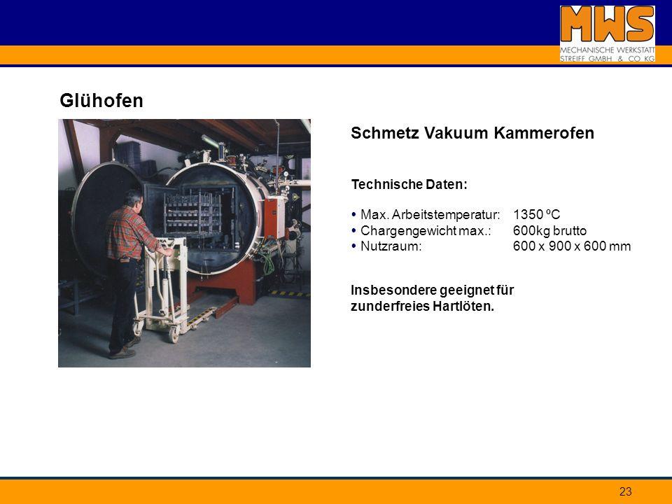 Glühofen Schmetz Vakuum Kammerofen Technische Daten: