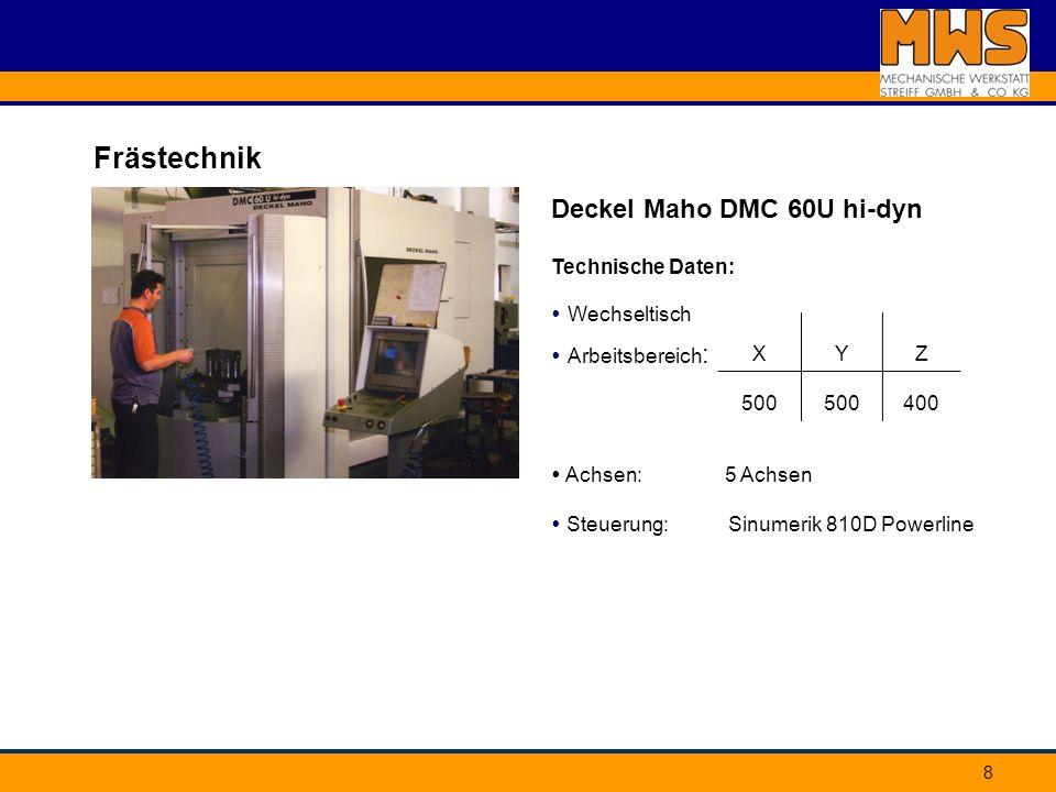 Frästechnik Deckel Maho DMC 60U hi-dyn Technische Daten: