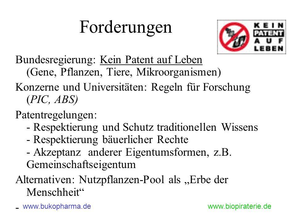 Forderungen Bundesregierung: Kein Patent auf Leben (Gene, Pflanzen, Tiere, Mikroorganismen)