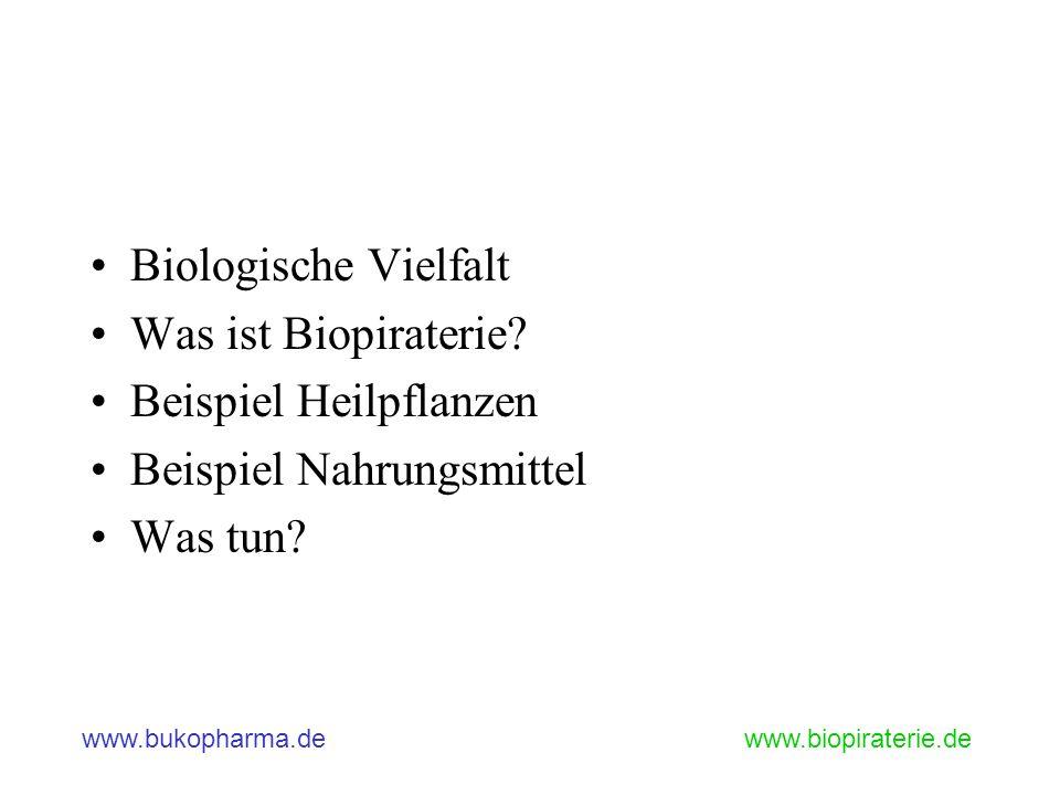 Biologische Vielfalt Was ist Biopiraterie Beispiel Heilpflanzen Beispiel Nahrungsmittel Was tun