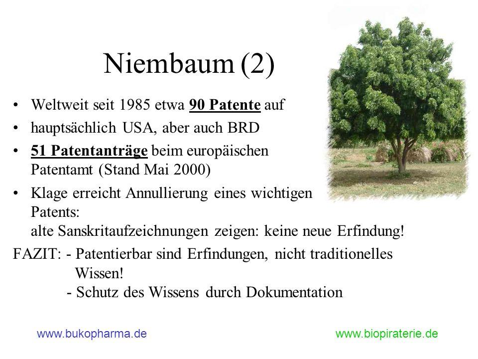 Niembaum (2) Weltweit seit 1985 etwa 90 Patente auf
