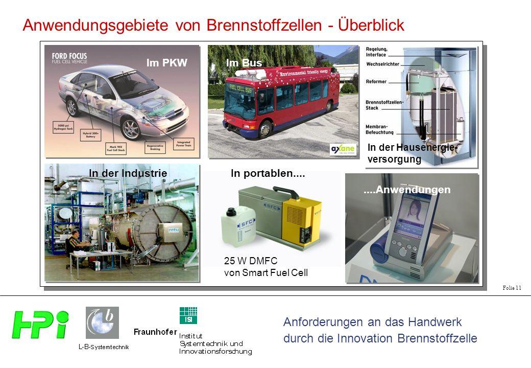 Anwendungsgebiete von Brennstoffzellen - Überblick