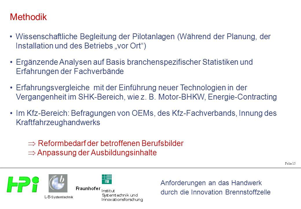 """Methodik Wissenschaftliche Begleitung der Pilotanlagen (Während der Planung, der Installation und des Betriebs """"vor Ort )"""