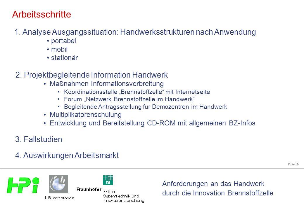 Arbeitsschritte 1. Analyse Ausgangssituation: Handwerksstrukturen nach Anwendung. portabel. mobil.