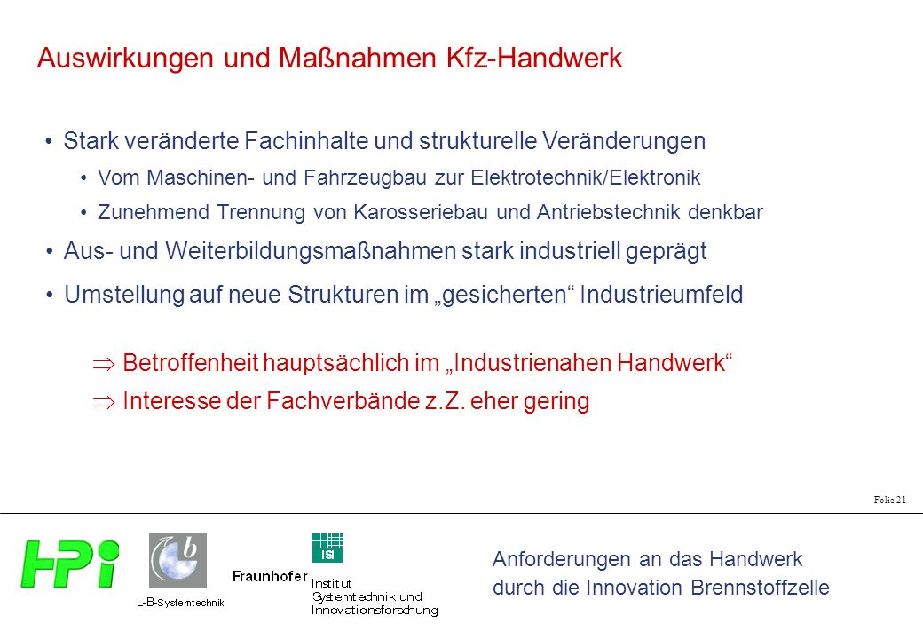 Auswirkungen und Maßnahmen Kfz-Handwerk
