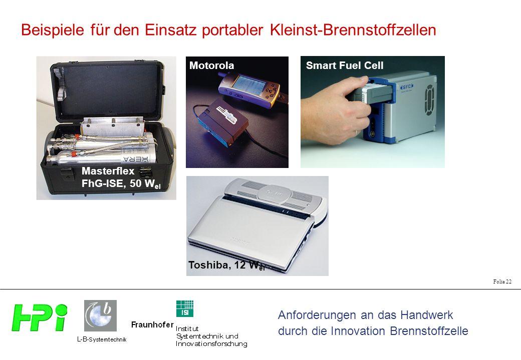 Beispiele für den Einsatz portabler Kleinst-Brennstoffzellen