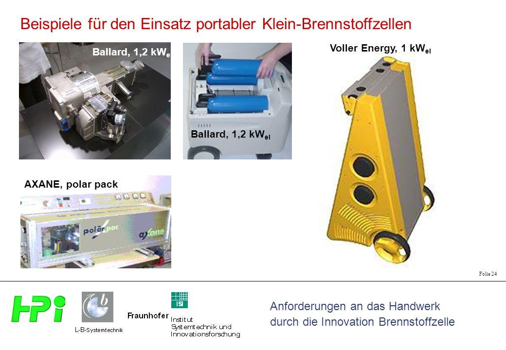 Beispiele für den Einsatz portabler Klein-Brennstoffzellen