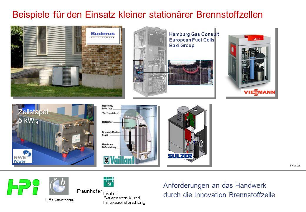 Beispiele für den Einsatz kleiner stationärer Brennstoffzellen