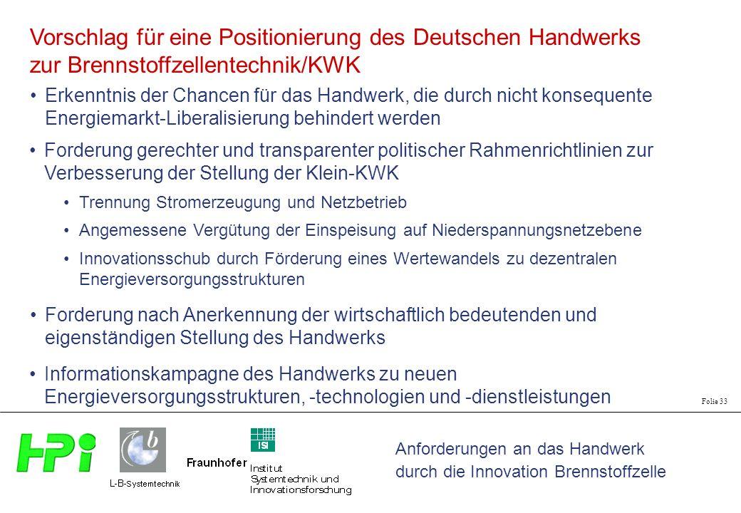 Vorschlag für eine Positionierung des Deutschen Handwerks zur Brennstoffzellentechnik/KWK