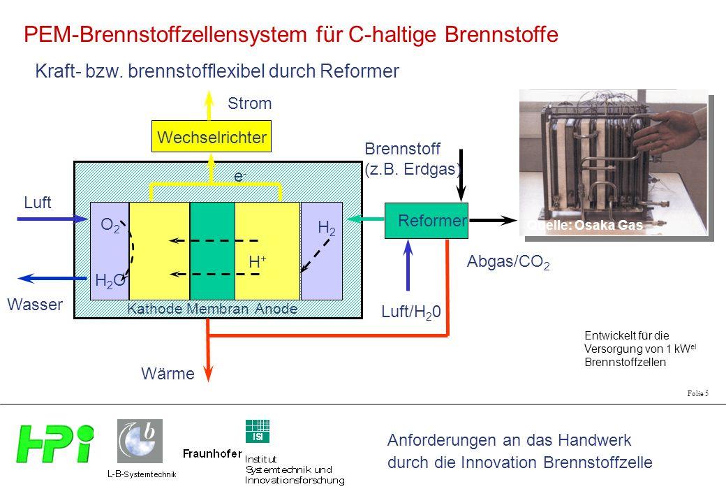 PEM-Brennstoffzellensystem für C-haltige Brennstoffe