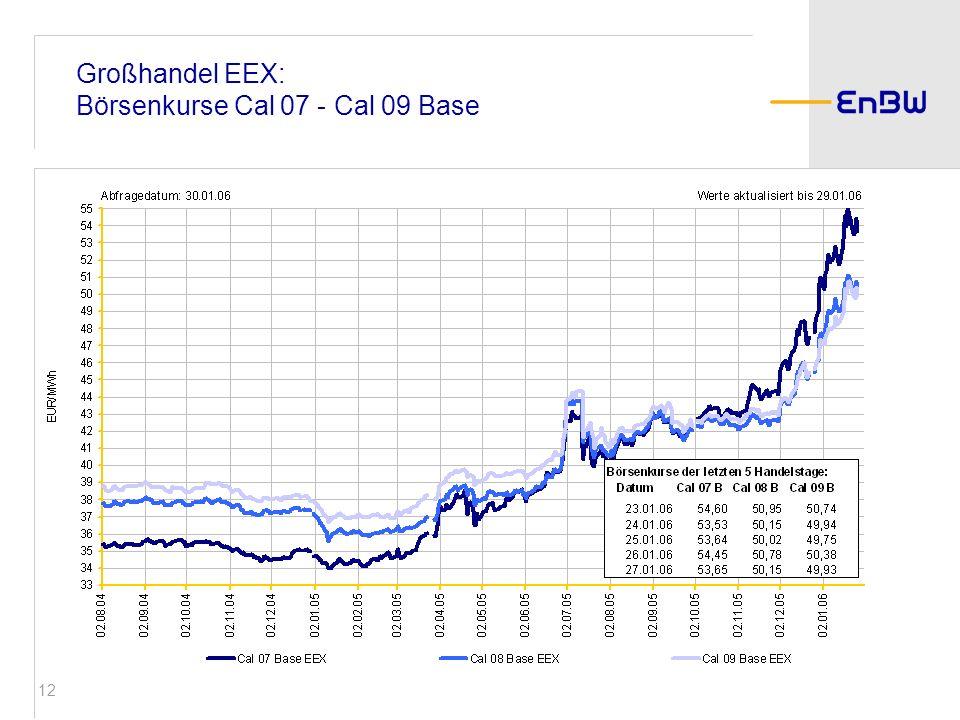 Großhandel EEX: Börsenkurse Cal 07 - Cal 09 Base