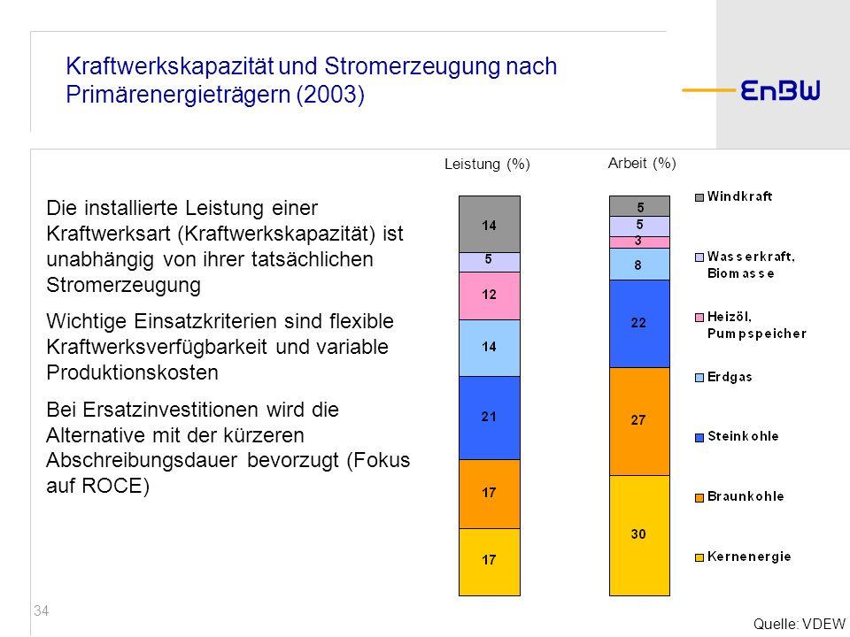Kraftwerkskapazität und Stromerzeugung nach Primärenergieträgern (2003)