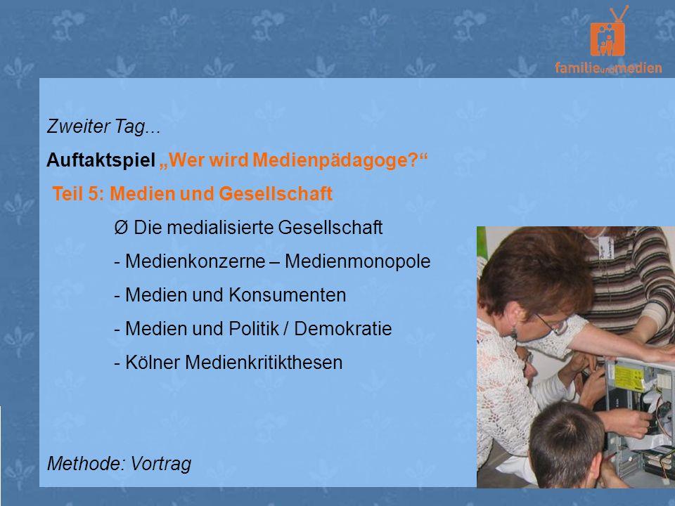 """Zweiter Tag... Auftaktspiel """"Wer wird Medienpädagoge Teil 5: Medien und Gesellschaft. Ø Die medialisierte Gesellschaft."""