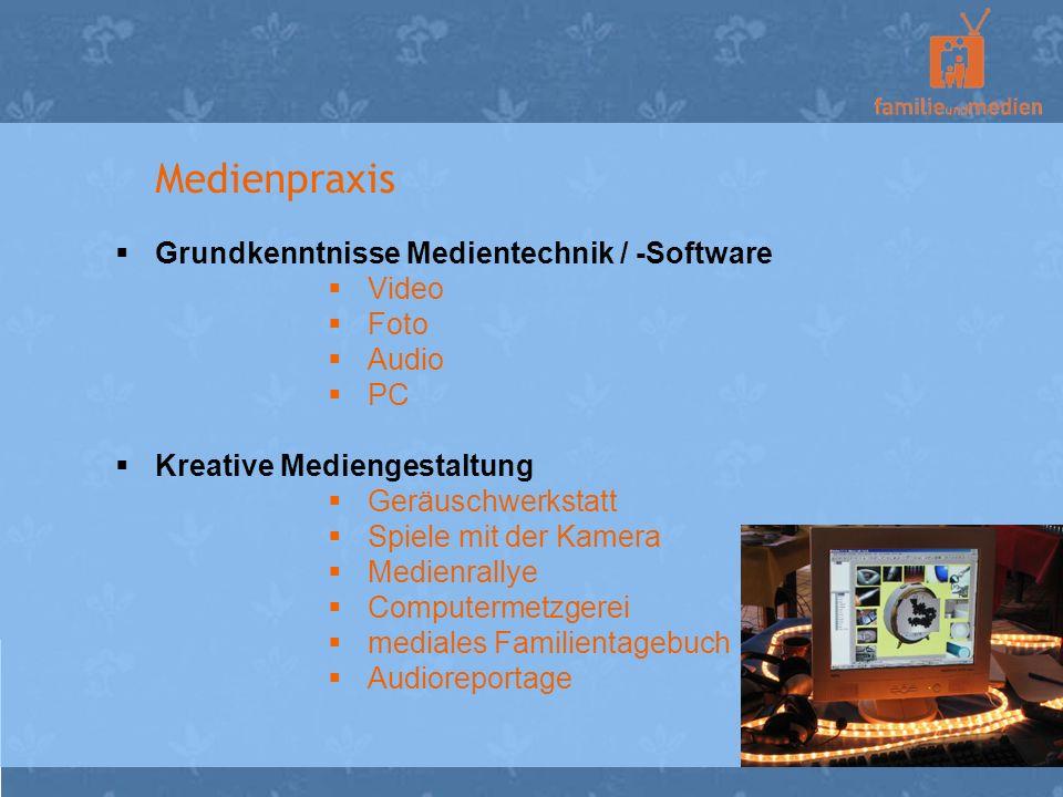 Medienpraxis Grundkenntnisse Medientechnik / -Software Video Foto