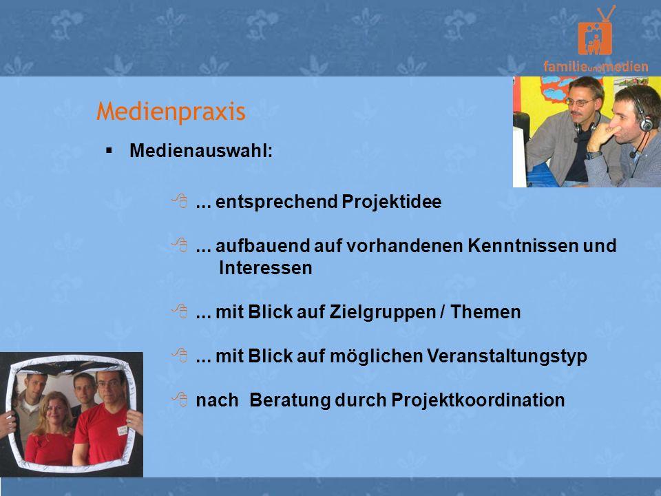Medienpraxis Medienauswahl: ... entsprechend Projektidee