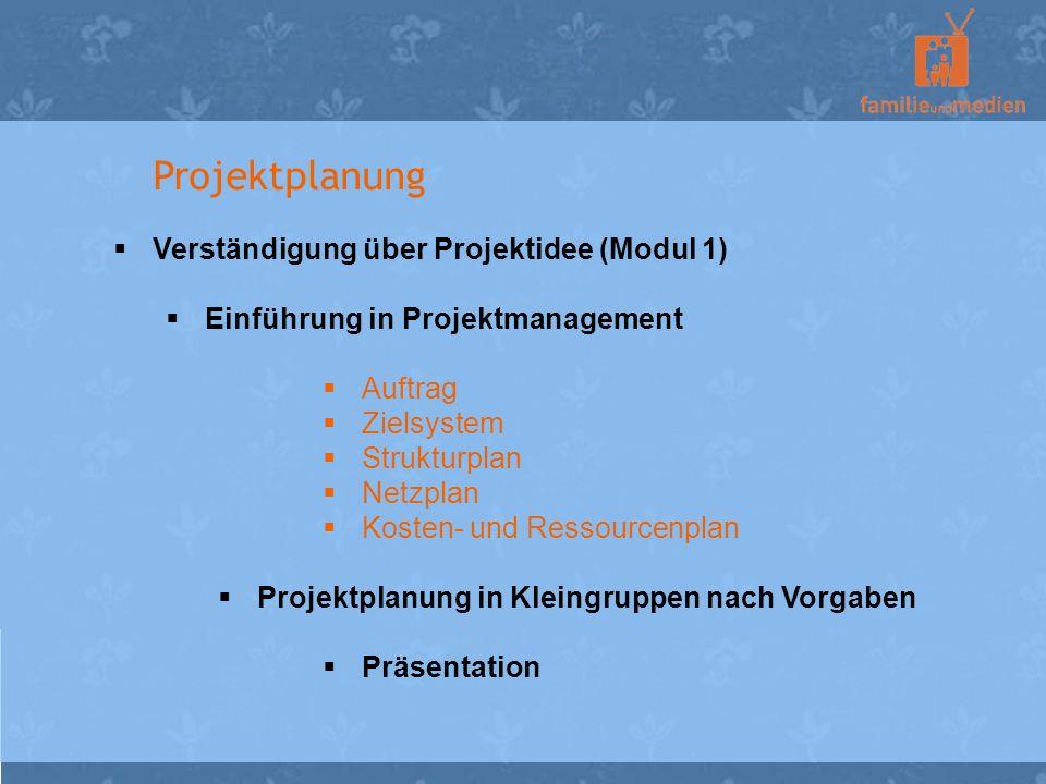Projektplanung Verständigung über Projektidee (Modul 1)