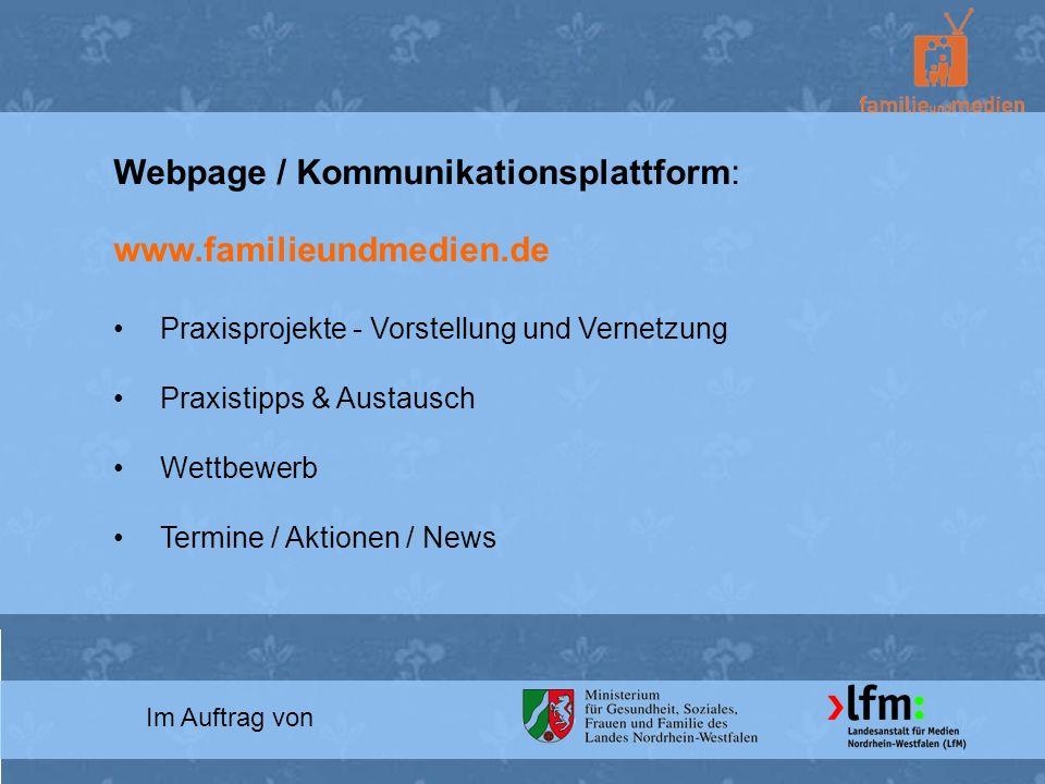 Webpage / Kommunikationsplattform: www.familieundmedien.de
