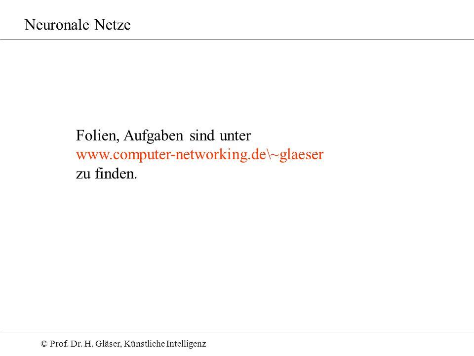 Neuronale Netze Folien, Aufgaben sind unter www.computer-networking.de\~glaeser zu finden.
