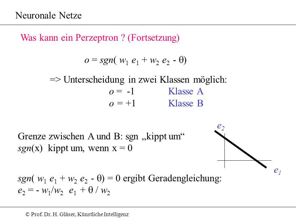 Neuronale Netze Was kann ein Perzeptron (Fortsetzung) o = sgn( w1 e1 + w2 e2 - q) => Unterscheidung in zwei Klassen möglich: