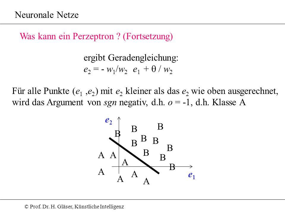 Neuronale Netze Was kann ein Perzeptron (Fortsetzung) ergibt Geradengleichung: e2 = - w1/w2 e1 + q / w2.