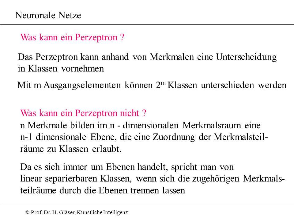 Neuronale Netze Was kann ein Perzeptron Das Perzeptron kann anhand von Merkmalen eine Unterscheidung.