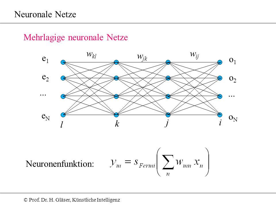 Neuronale Netze Mehrlagige neuronale Netze. wkl. wij. wjk. e1. o1. e2. o2. ... ... eN. oN.