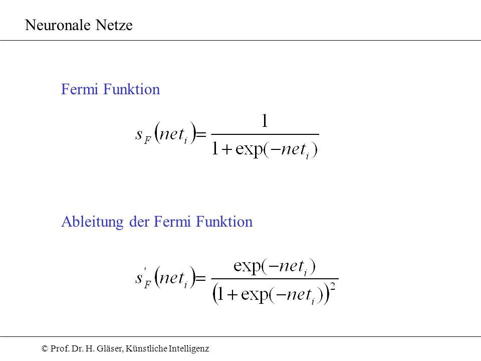 Neuronale Netze Fermi Funktion Ableitung der Fermi Funktion