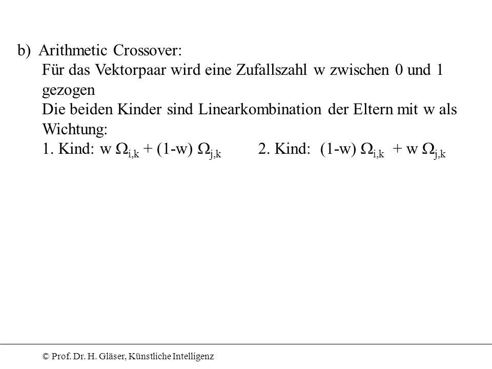b) Arithmetic Crossover: Für das Vektorpaar wird eine Zufallszahl w zwischen 0 und 1 gezogen Die beiden Kinder sind Linearkombination der Eltern mit w als Wichtung: 1.