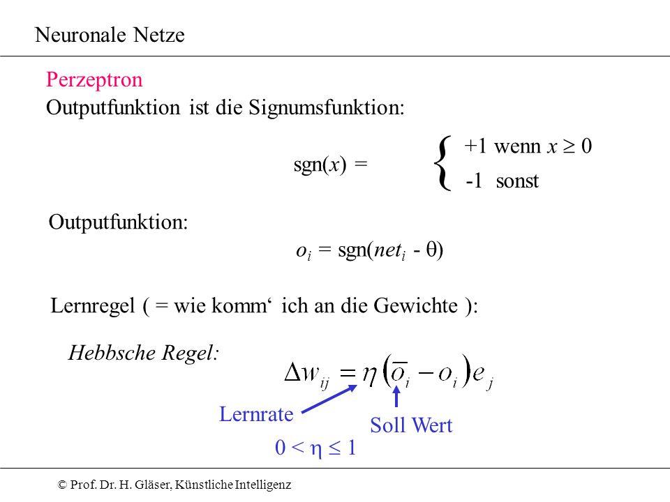{ Neuronale Netze Perzeptron Outputfunktion ist die Signumsfunktion: