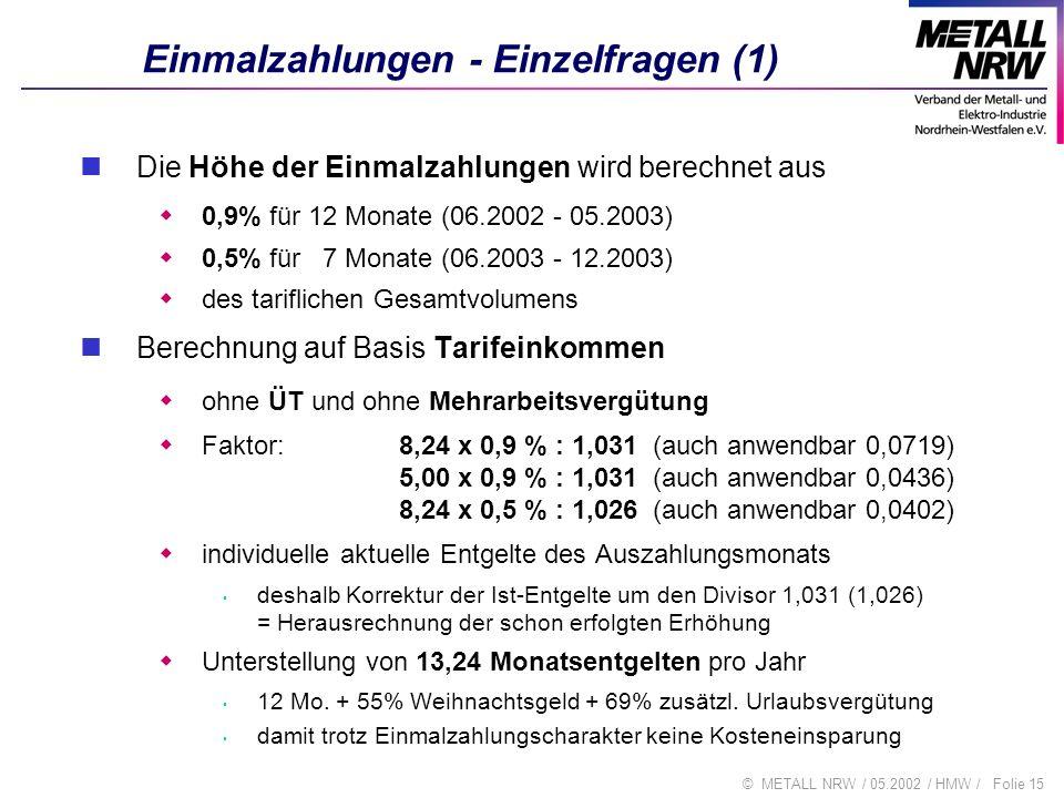 Einmalzahlungen - Einzelfragen (1)