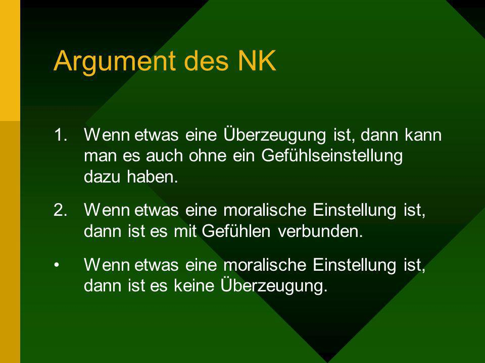 Argument des NKWenn etwas eine Überzeugung ist, dann kann man es auch ohne ein Gefühlseinstellung dazu haben.