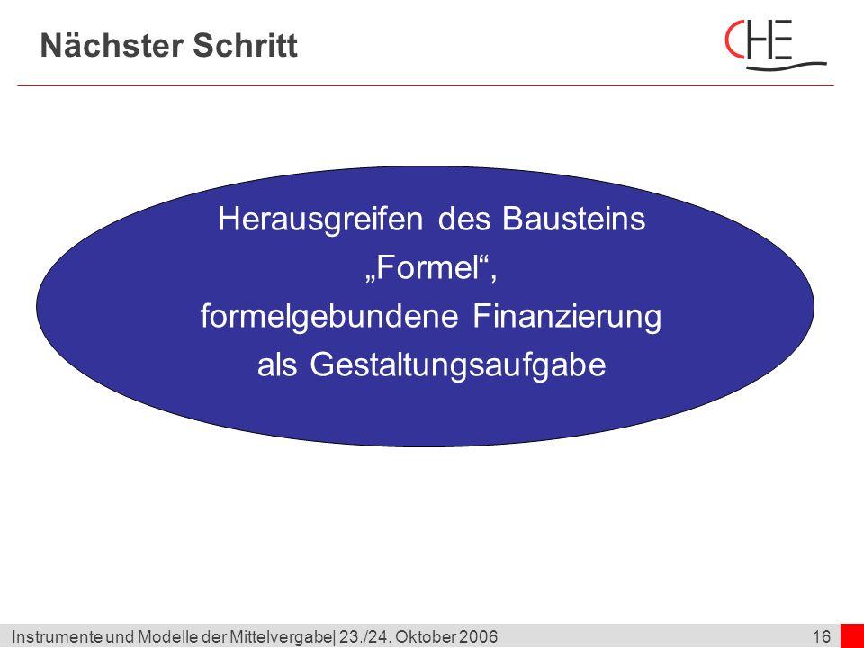 """Herausgreifen des Bausteins """"Formel , formelgebundene Finanzierung"""