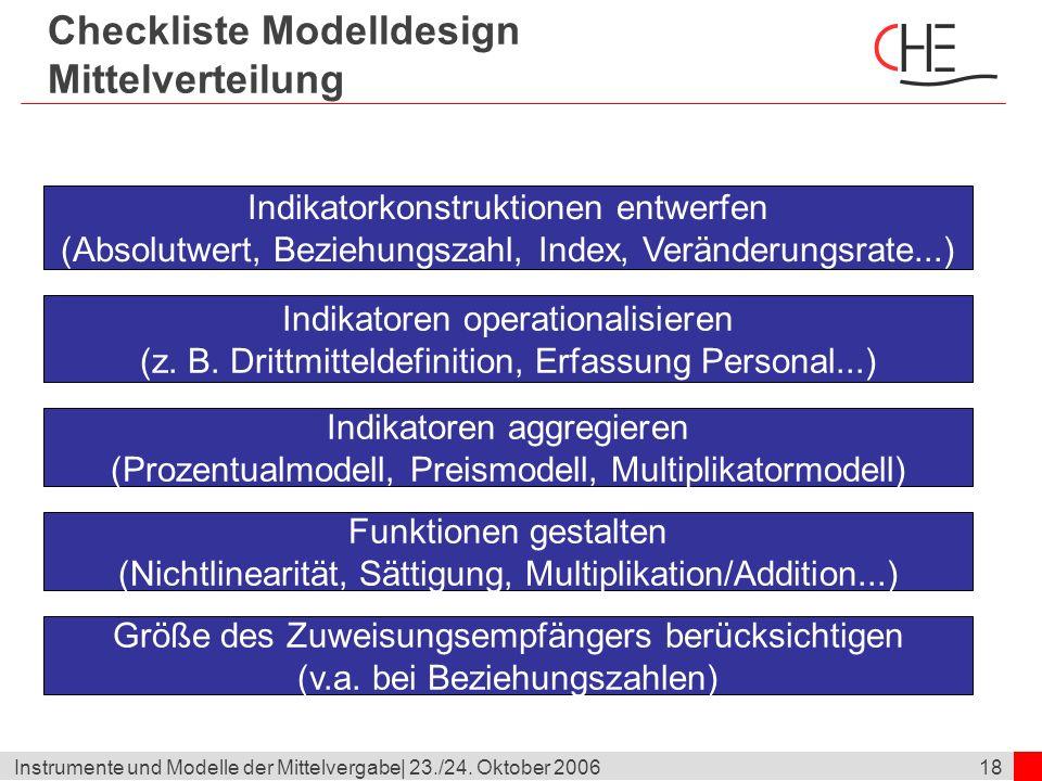 Checkliste Modelldesign Mittelverteilung