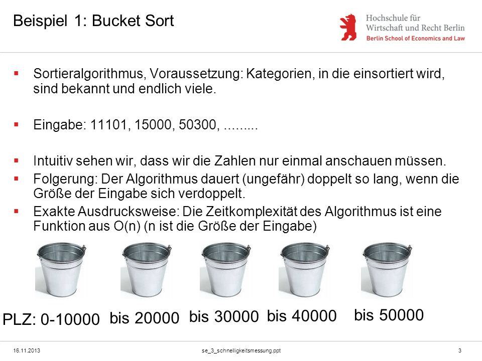 Beispiel 1: Bucket Sort bis 40000 bis 50000 bis 20000 bis 30000