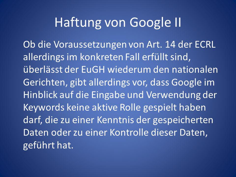 Haftung von Google II