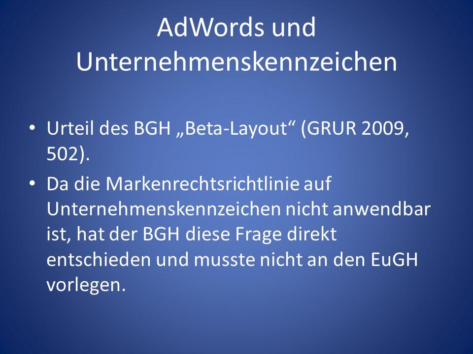 AdWords und Unternehmenskennzeichen