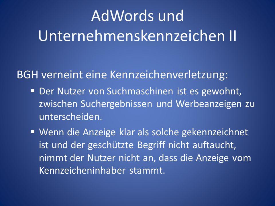 AdWords und Unternehmenskennzeichen II