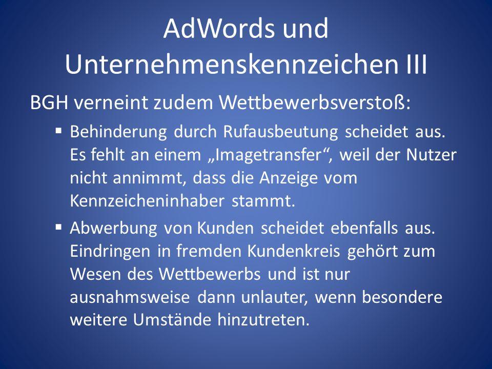 AdWords und Unternehmenskennzeichen III