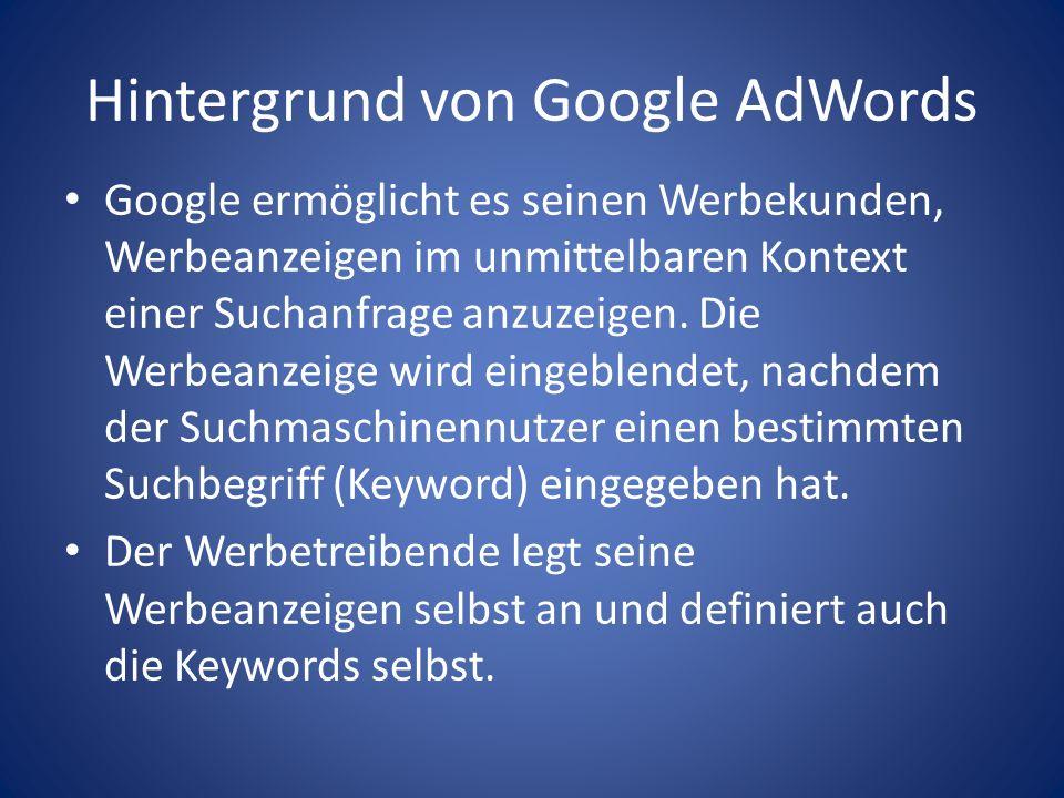 Hintergrund von Google AdWords