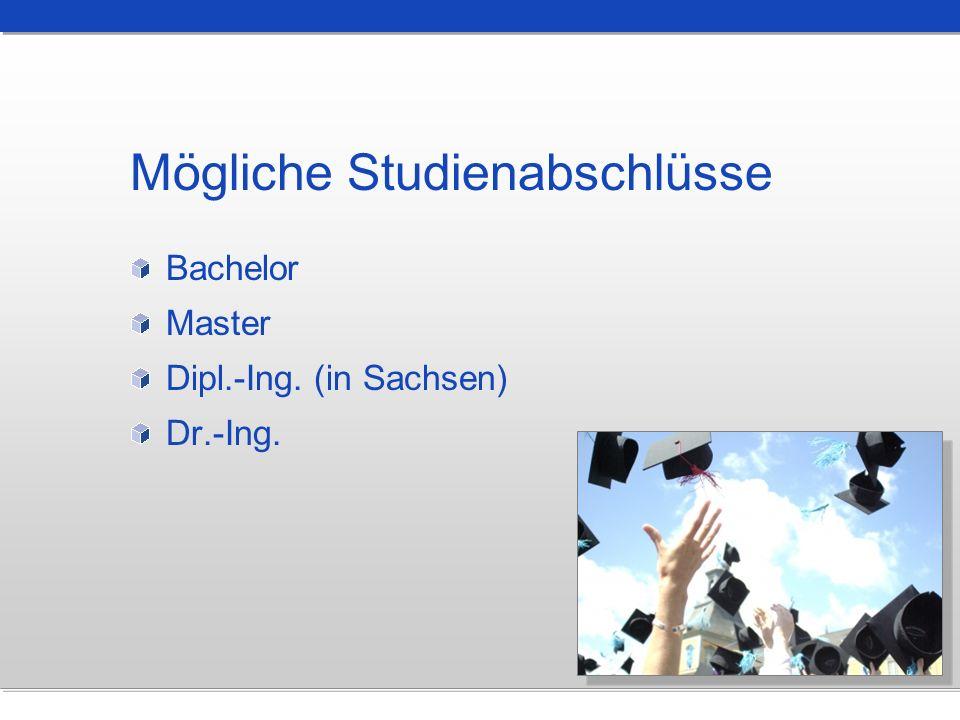 Mögliche Studienabschlüsse