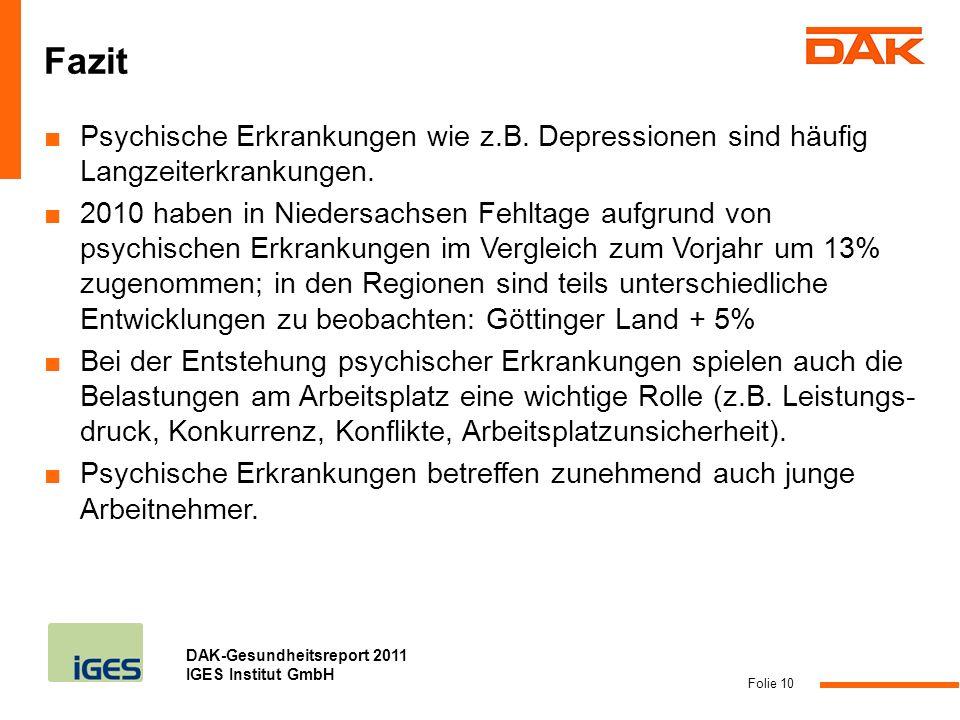 Fazit Psychische Erkrankungen wie z.B. Depressionen sind häufig Langzeiterkrankungen.