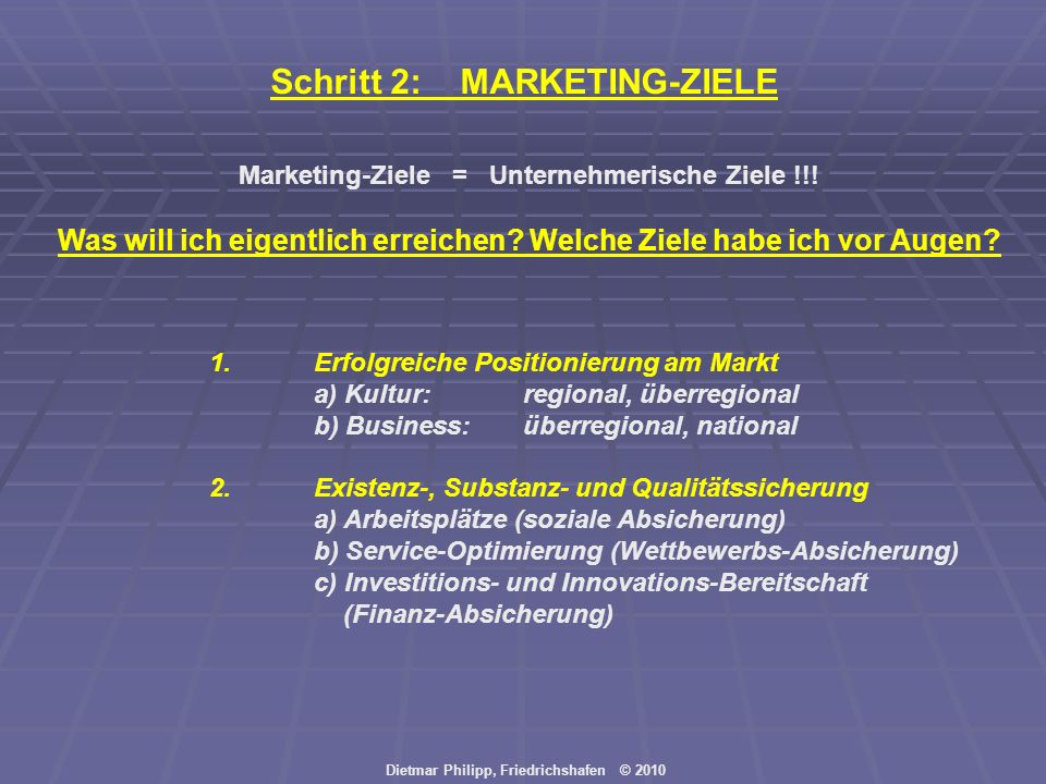 Schritt 2: MARKETING-ZIELE