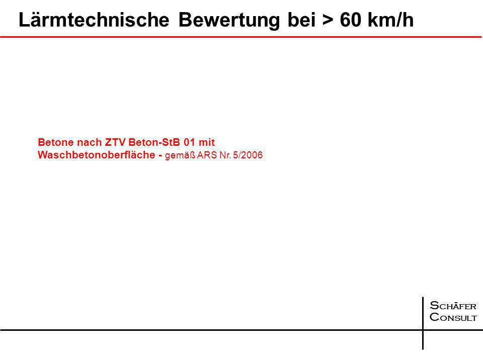 Lärmtechnische Bewertung bei > 60 km/h