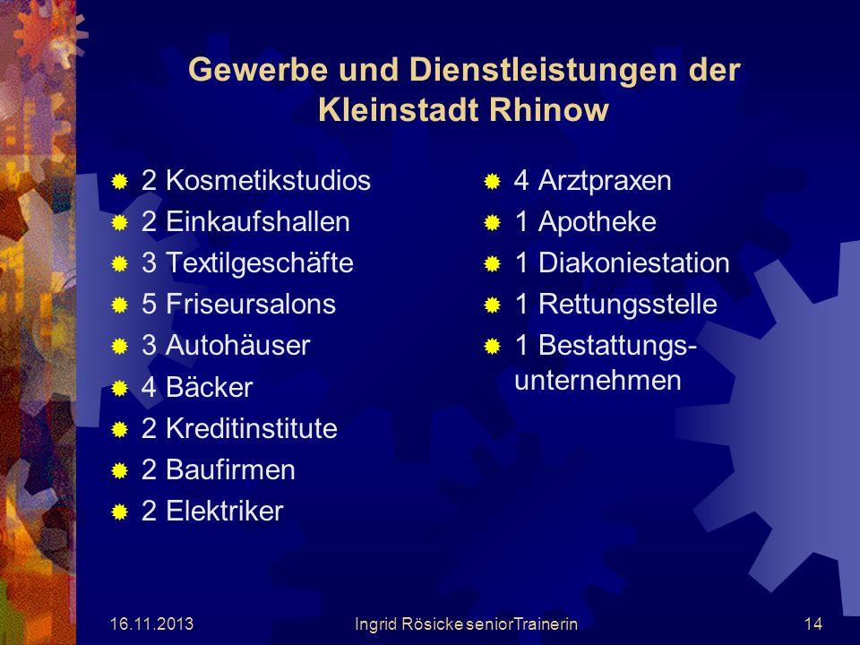 Gewerbe und Dienstleistungen der Kleinstadt Rhinow