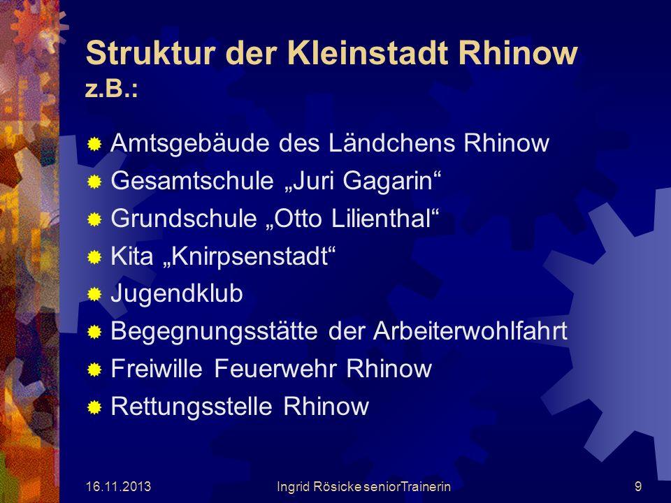 Struktur der Kleinstadt Rhinow z.B.: