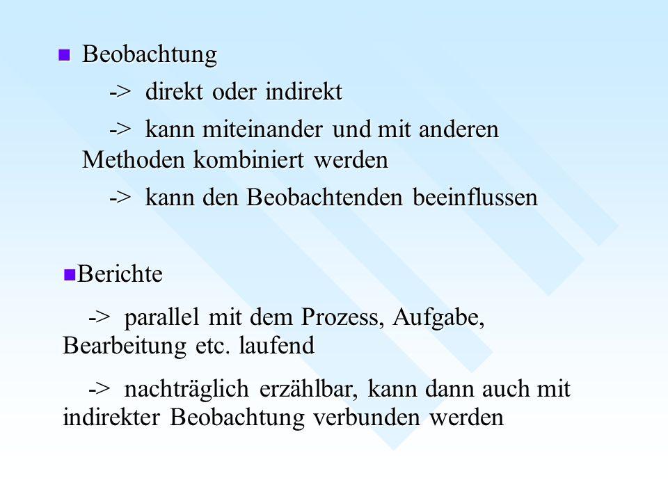 Beobachtung -> direkt oder indirekt. -> kann miteinander und mit anderen Methoden kombiniert werden.